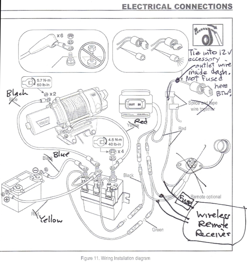 WinchWiringDiagram1 kawasaki teryx utv winch installation warn winch remote 5 wire wiring diagram at fashall.co